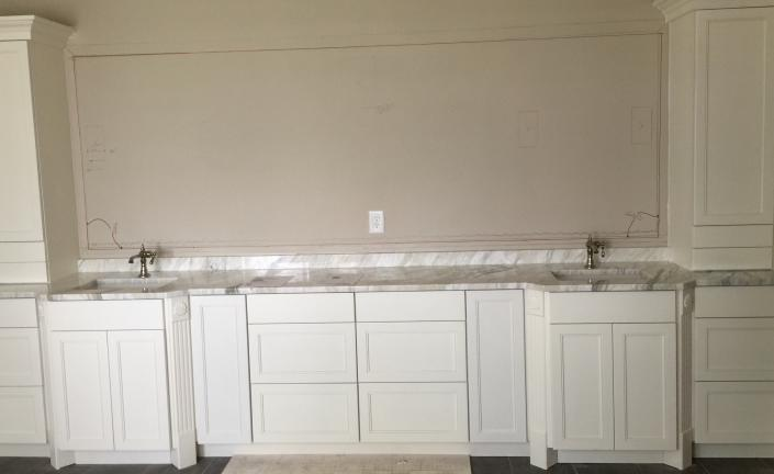 This is the master bath vanity at St. Johns Island in SC. This is a number 91 door style, painted Pure White.